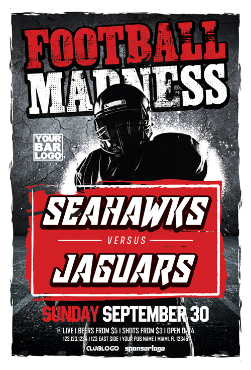 Football Madness Sports Flyer Template  Flyer For Sport Events