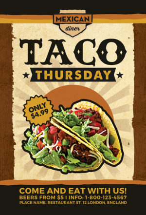 Taco Thursday Flyer Template Vol 1 for Mexican Fast Food Restaurants