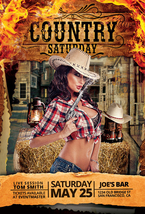 Country-Saturday-Party-Flyer-Template-Awesomeflyer-com