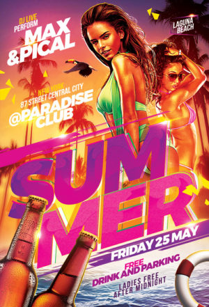 Hot Beach Summer Party Flyer Template
