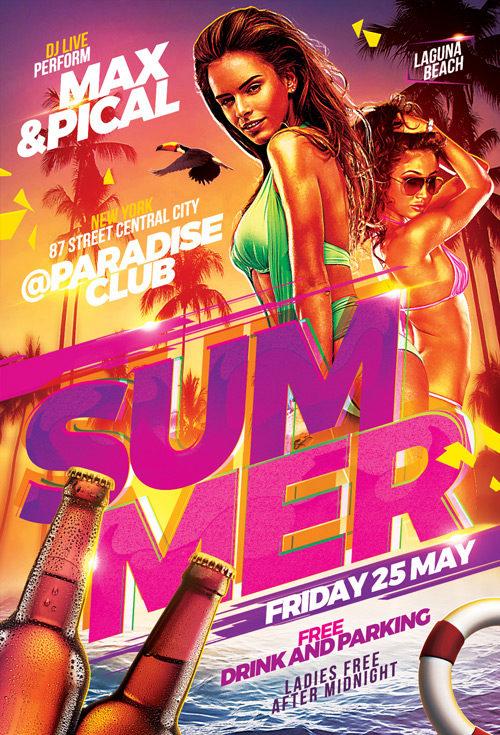 Hot Beach Summer Party Flyer Template