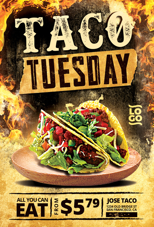 taco thursday flyer template vol 2 for mexican fast food