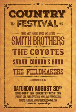 Country Music Festival Flyer Template