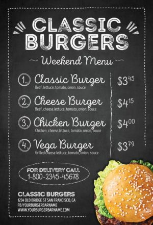 Hamburger Menu Flyer Template