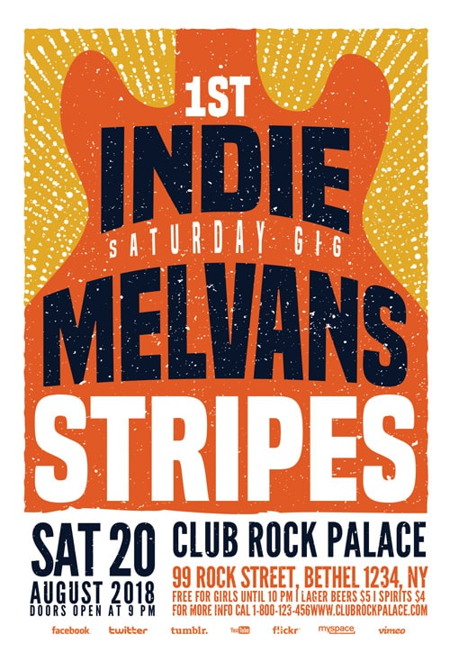Indie Rock Gig Flyer Template for Live Music, Indie Alternative Concerts