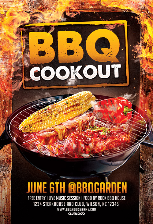 bbq cookout flyer template for bbq cookout and gill fest