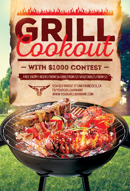 bbq grill event flyer template for bbq cookout and gill