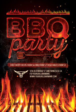 Barbecue Grill Party Flyer Template