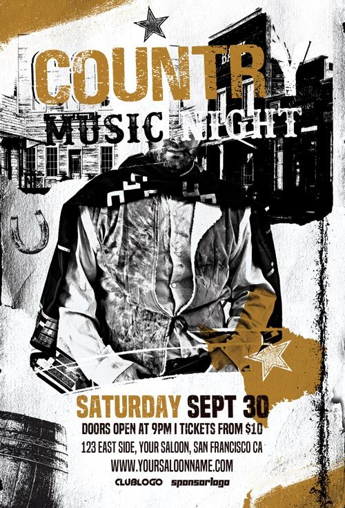 Country-Music-Night-Free-Flyer-Template-Freebie-Awesomeflyer-com