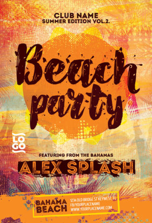 Beach Summer DJ Party Flyer Template
