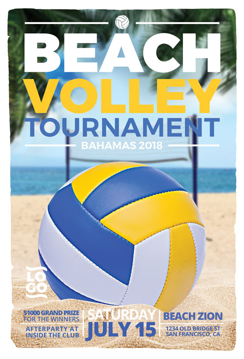 beach volleyball flyer template for summer beach volleyball events