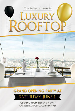Rooftop Restaurant Flyer Template