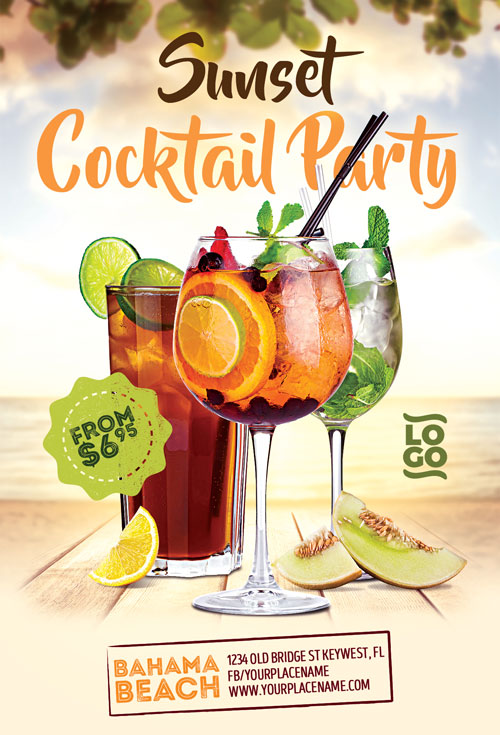 summer cocktail flyer template for club and dj music parties