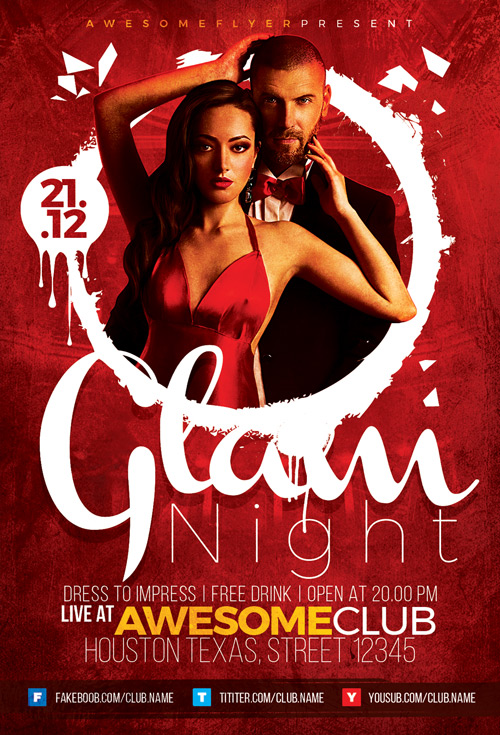 glam night flyer template for elegant and classy party and
