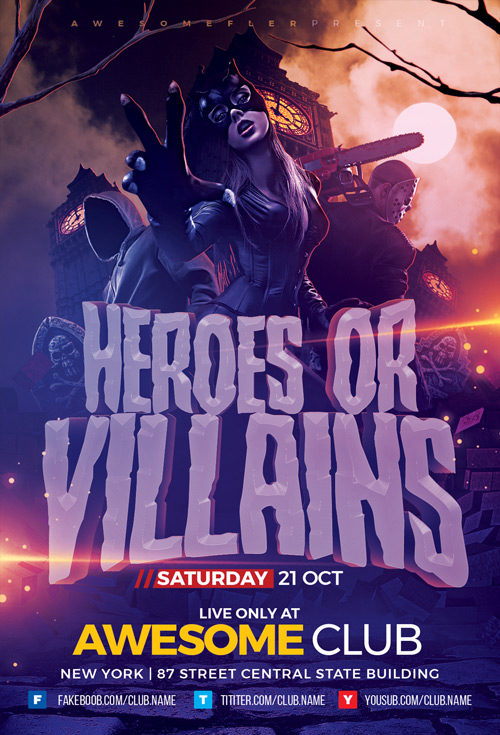 Halloween Cosplay Party Flyer Template