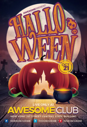 Halloween Night Flyer Template for Halloween Club and Party Events