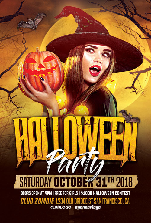 halloween party flyer template vol 2 for halloween party events