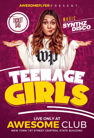 Teenage Girl Party Flyer Template