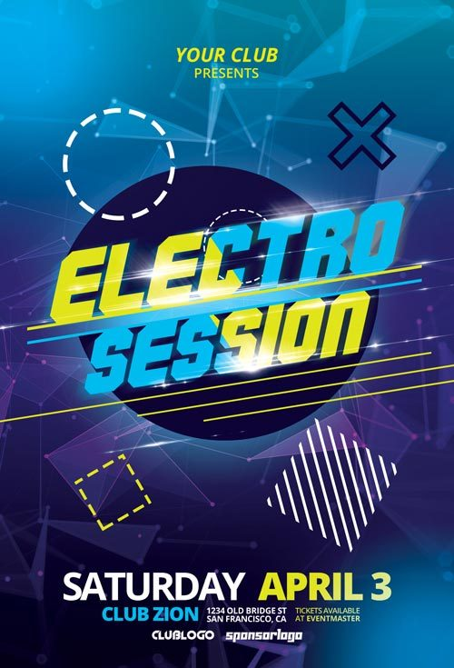 Electro Club Session Free Flyer Template