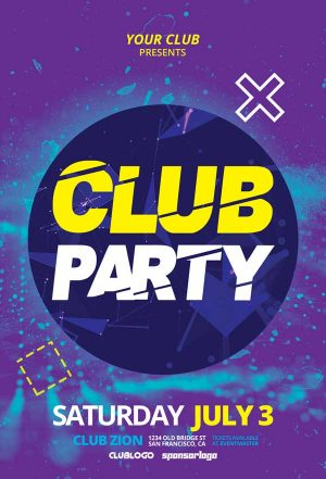 Electro Club Party Free Flyer Template