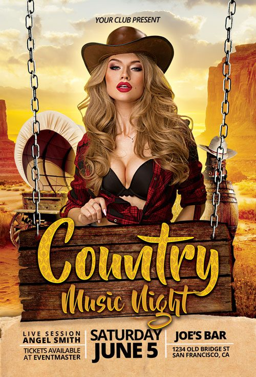 Country Saturday Club Party Flyer Template