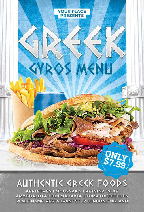 Greek Gyros Food Flyer and Poster Template