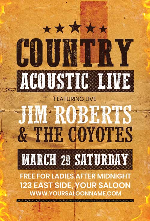 Free Country Flyer Template Freebie Flyer For Western Events